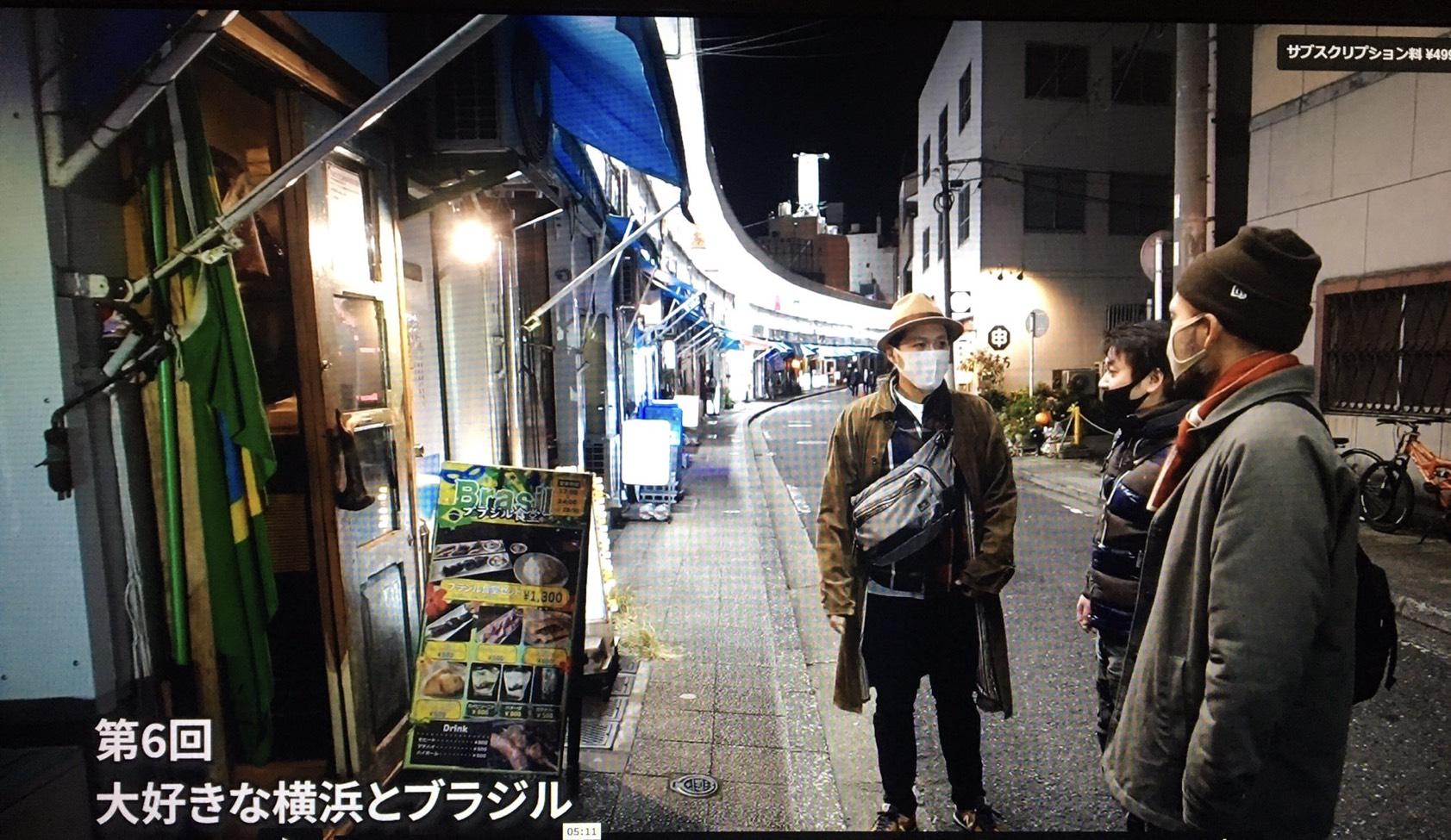 都橋商店街に嵐よういちさんと和田虫像さんをご案内した様子です
